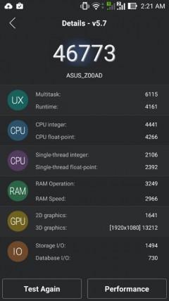 ASUS Zenfone 2 score before OTA update