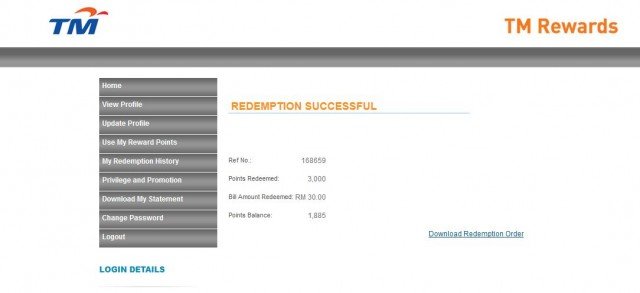 This is my first time redeem bill rebate from TMnet because earlier the system having issue with internet browser