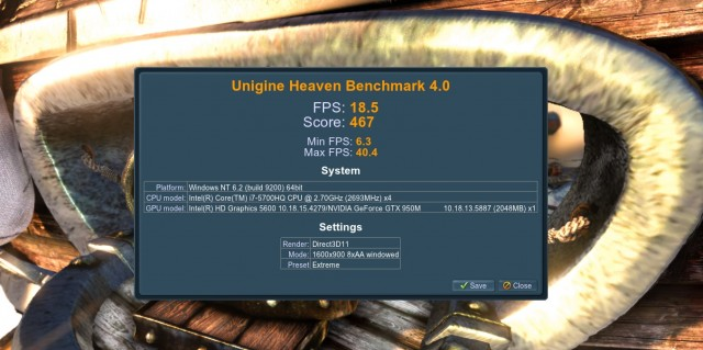 UnigineHeaven GTX 950M GP62