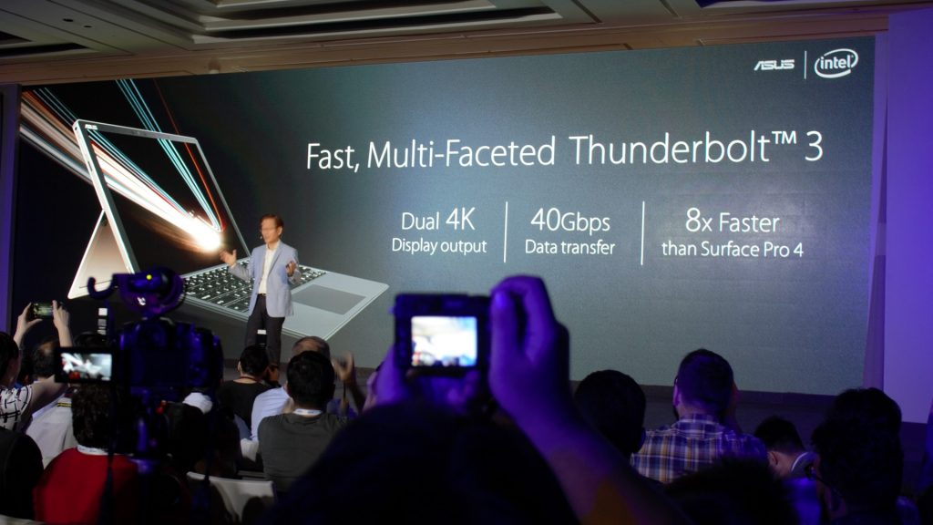 Dual 4K output. But I can tell you, the machine will be struggling. 40Gbps transfer, heavily needed! 8X faster than Surface Pro - that's just a matter of time.