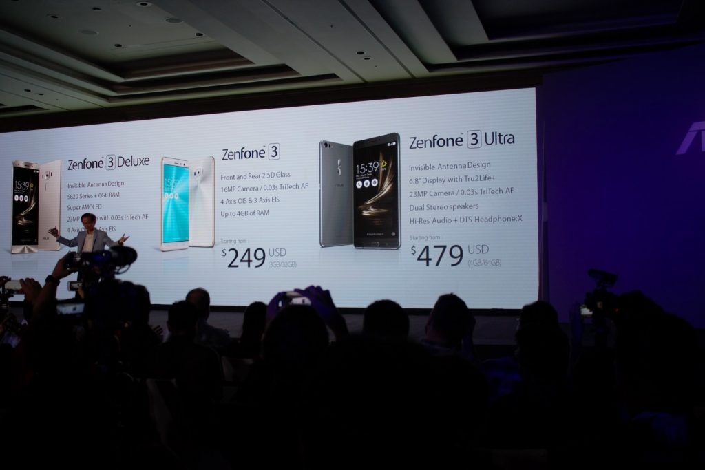 The normal Zenfone 3 starts from $249 USD (RM1024) and the Zenfone 3 Ultra starts from $479 USD (RM1970)