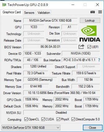 GTX 1060 GPUZ