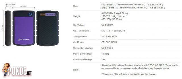 Transcend StoreJet 25H3 4TB-specification
