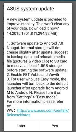 ASUS Zenfone 3 gets Nougat 7.0 Update 20