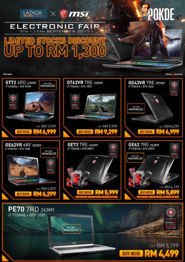 Prepare your wallets for MSI's promotions; discounts up to RM1300 on selected MSI gaming laptops! 21