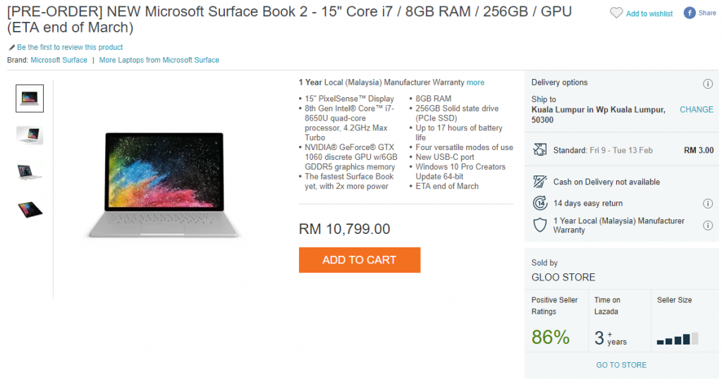 Microsoft Surface Book 2 up for pre-orders on Lazada; prices start from RM6899 27