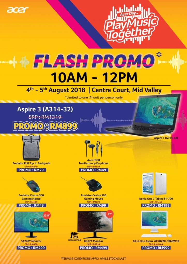 Acer Day Play Music Together Promo — Deals Include A 144hz Curved Gaming Monitor For Just RM599! 27
