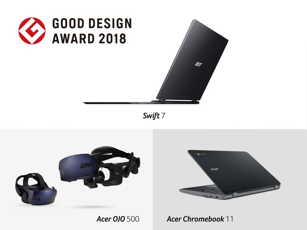 Three Acer Products Won the 2018 Good Design Awards