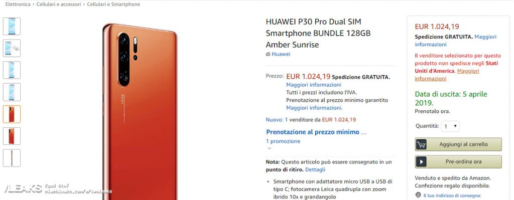 Amazon Accidentally Leaks HUAWEI P30 Pro Price 24