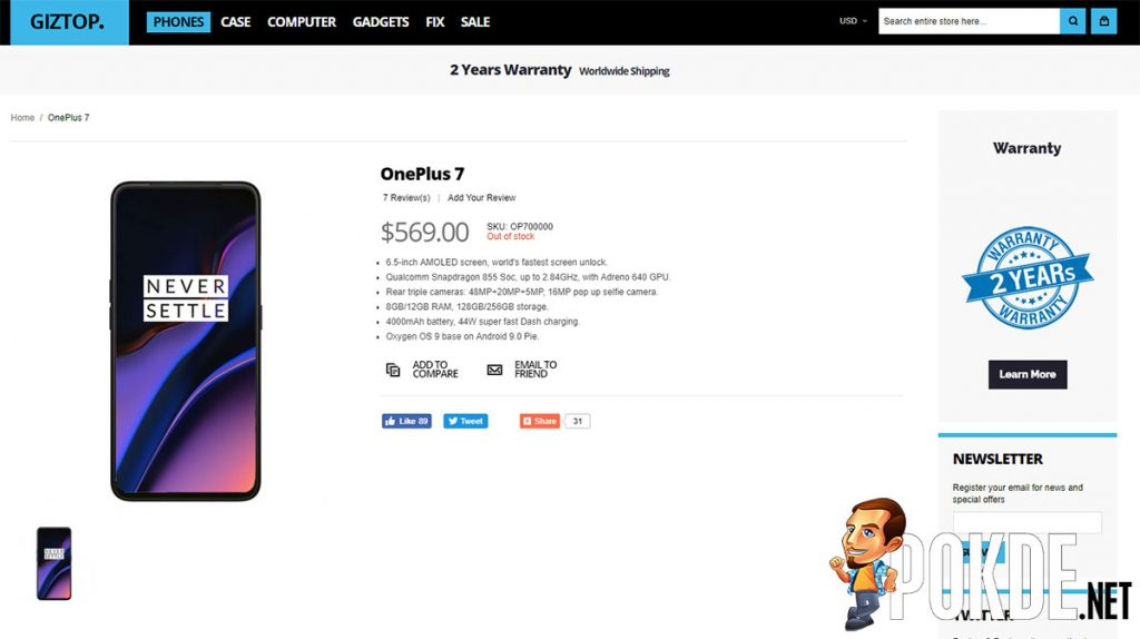 OnePlus 7 pre-maturely listed on retailer's website — reveals some interesting details about its cameras 32