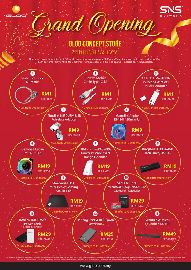 Get up to 95% off gadgets at the Grand Opening of GLOO Concept Store! 29