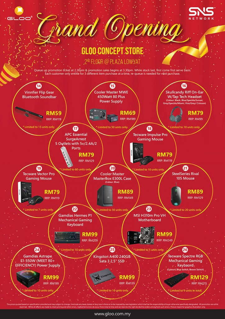 Get up to 95% off gadgets at the Grand Opening of GLOO Concept Store! 30