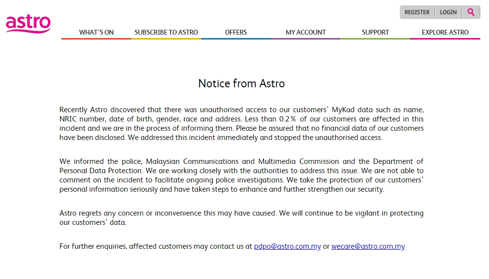 Astro Database Breach Has Customers' Personal Data Leaked Out 33