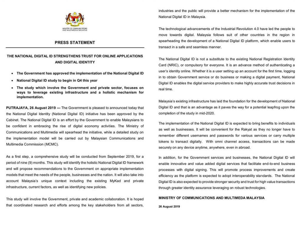 Malaysia: Cabinet Approves National Digital Identity to Authenticate Online Identity 24