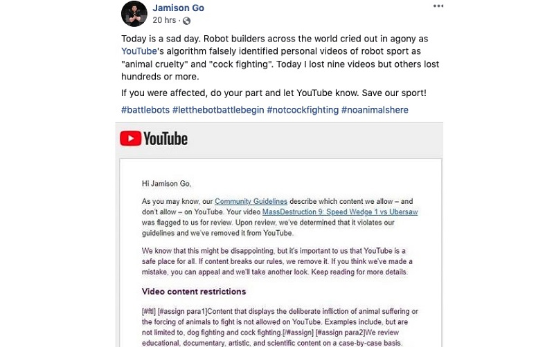 "YouTube Wrongly Flags Robot Fighting Videos As ""Animal Cruelty"" 19"