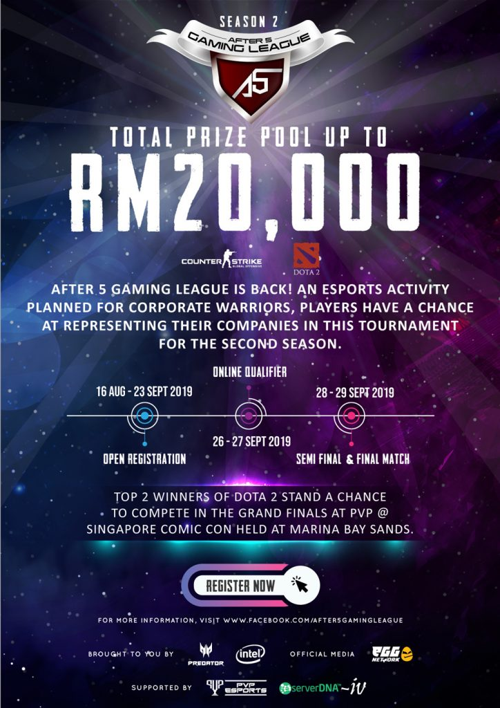 After 5 Gaming League Is Back Again This 28-29 September 2019 — Offering Prize Pool Up To RM20,000 30
