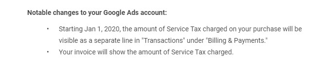 Google will start charging 6% Service Tax on 1st January 2020 33