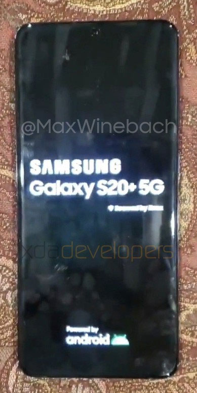 samsung galaxy s20+ boot up screen
