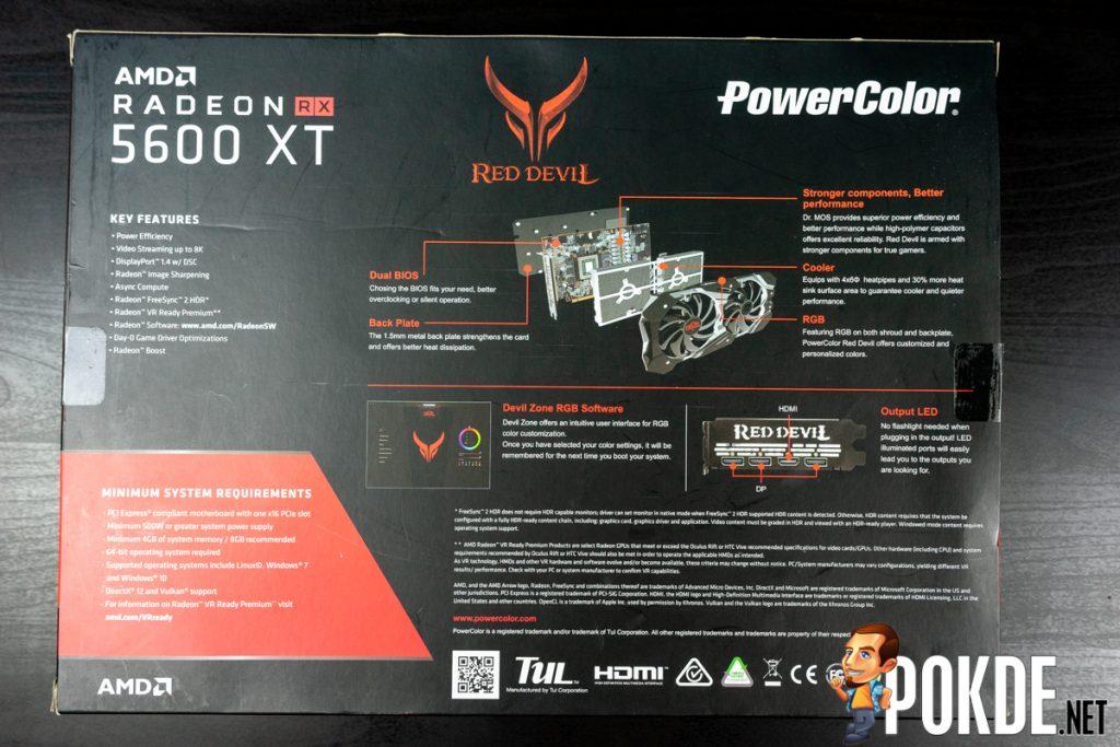 red devil radeon rx 5600 xt box back