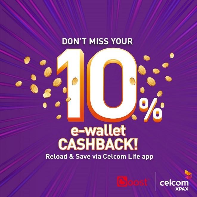 celcom 10% ewallet cashback