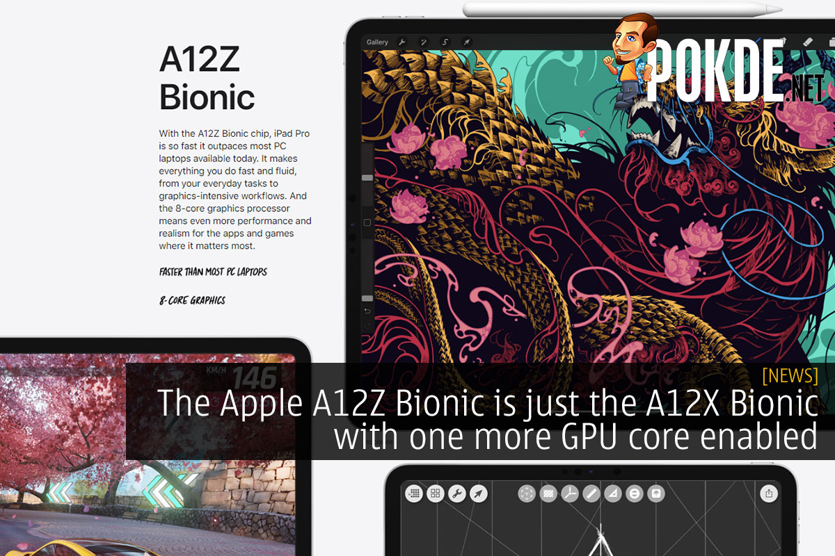 The Apple A12Z Bionic is just the A12X Bionic with one more GPU core enabled 8