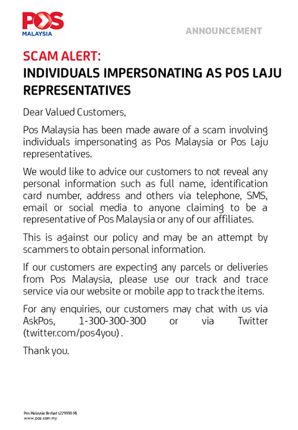 Pos Laju Warns Of Impersonators Trying To Get Your Information 23