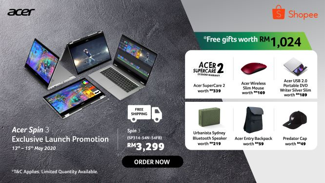 Acer Malaysia Will Be Giving Special Freebies for All Acer Spin 3 Pre-Orders