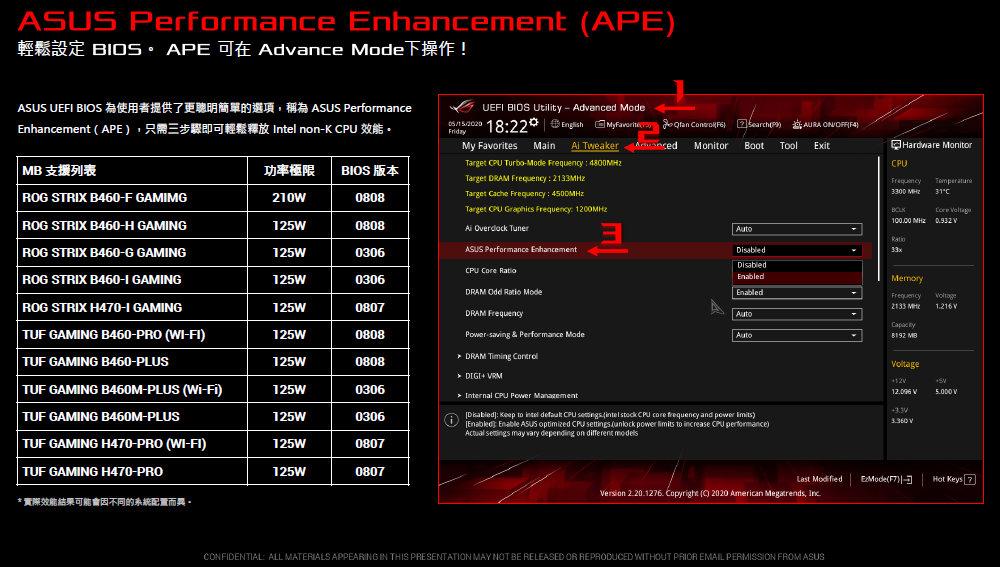 ASUS Performance Enhancement (APE) BIOS
