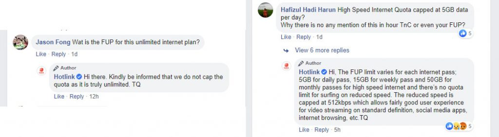 Hotlink Prepaid Unlimited Facebook comments