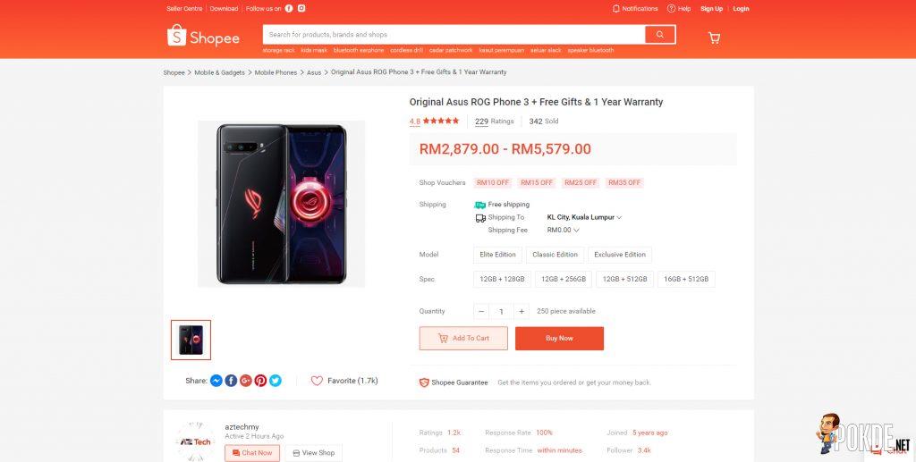 ROG Phone 3 Shopee Page