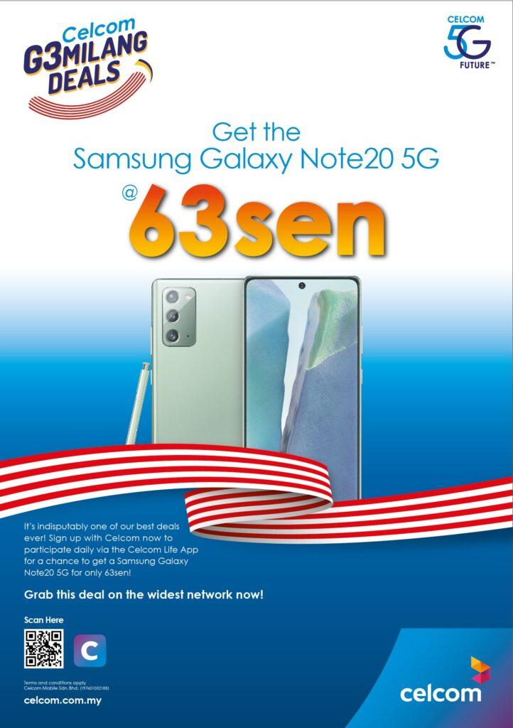 63MILANG Deals Celcom Samsung Galaxy Note 20 5G