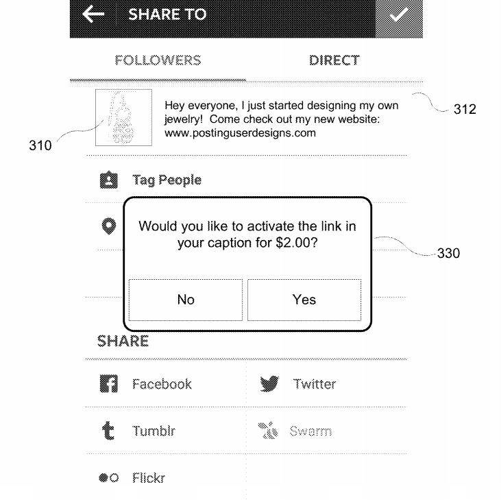 facebook instagram link caption patent