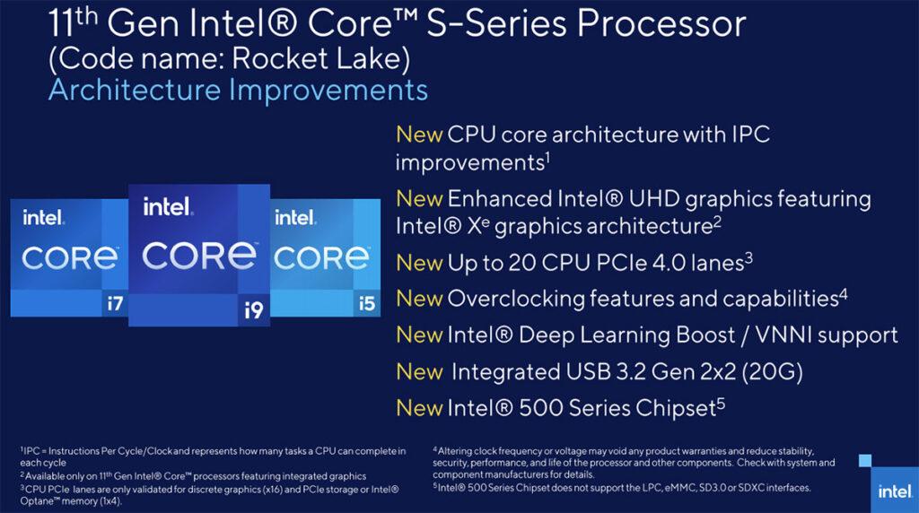 11th Gen Intel Core Rocket Lake processor features