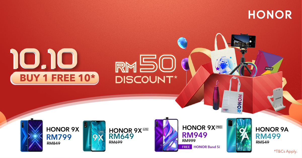 HONOR Malaysia Offers Buy 1-Free 10 Deals To Celebrate 10.10 27