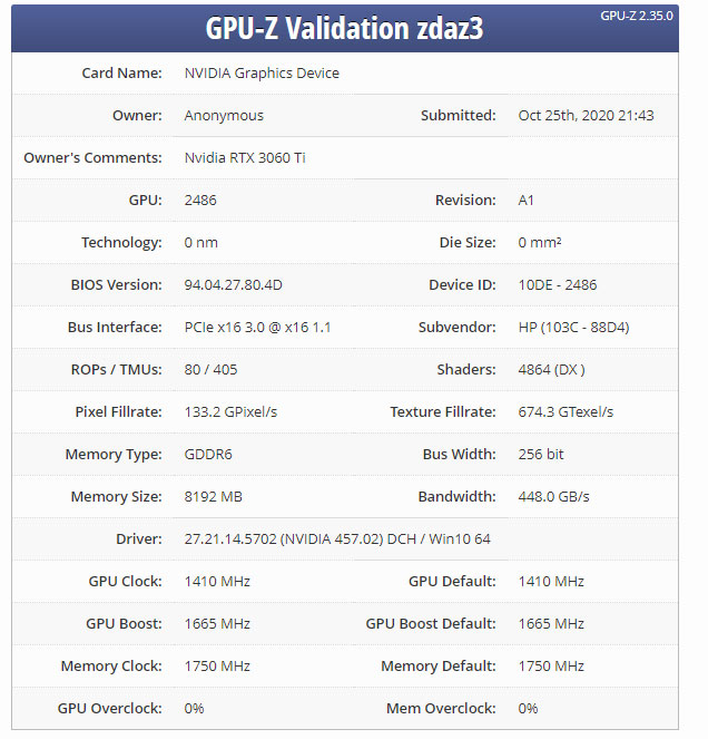NVIDIA GeForce RTX 3060 Ti GPU-Z